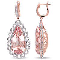 27.5 ct. Morganite and 2.00 ct. t.w. Diamond Halo Teardrop Earrings in 14K Rose Gold