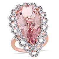 13.75 ct. Morganite and 0.93 ct. t.w. Diamond Vintage Design Cocktail Ring in 14K Rose Gold