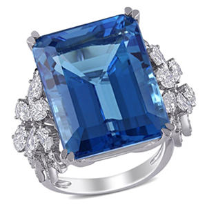 31 ct. Blue Topaz and 1.75 ct. t.w. Diamond Flower Design Cocktail Ring in 14K White Gold