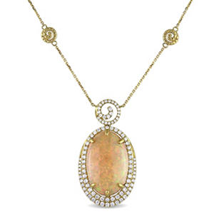 15.75 ct. Ethiopian Opal and 1.25 ct. t.w. Diamond Halo Necklace in 14K Yellow Gold
