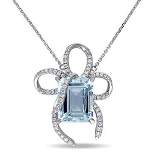 7.0 ct. Aquamarine and Diamond Bow Necklace in 14K White Gold