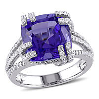 7.17 ct. Tanzanite and Diamond Split Shank Cocktail Ring in 14K White Gold