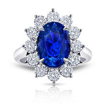 5.87 Carat Oval Blue Sapphire and Diamond Ring