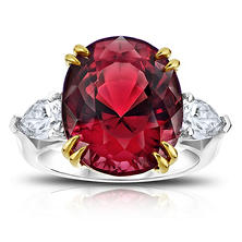 15.13 Carat Oval Red Spinel and Diamond Ring
