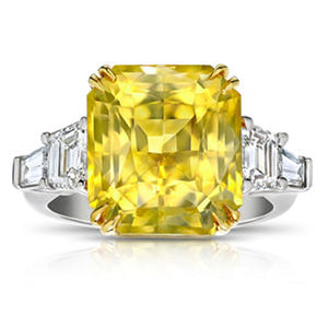 14.25 Carat Radiant Cut Yellow Sapphire and Diamond Ring