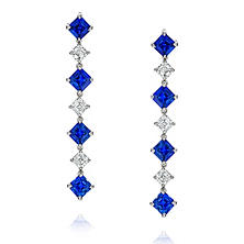 Blue Sapphire and Diamond Drop Earrings