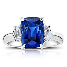 5.62 Carat Cushion Blue Sapphire and Diamond Ring