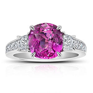 4.85 Carat Cushion Pink Sapphire and Diamond Ring