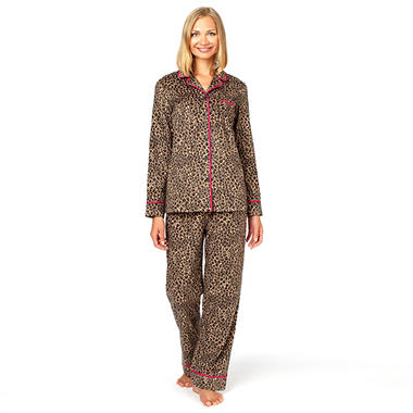Anne Klein Fleece Notch Collar PJ Set - Various Colors