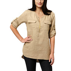 Company Ellen Tracy Roll Tab Linen Tunic (Assorted Colors)