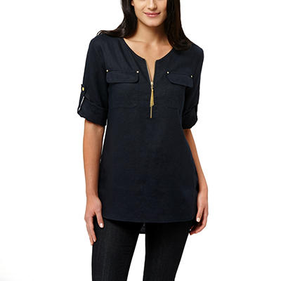 Ellen Tracy Roll Tab Linen Tunic (Assorted Colors)