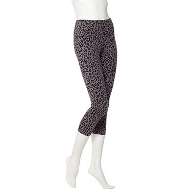 Women's June & Daisy Capri Cotton Leggings - Steel Animal / Black - 2 pk.