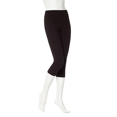 Women's June & Daisy Capri Cotton Leggings - Black / Black - 2 pk.