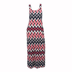 Sleeveless Chevron Maxi Dress (Assorted Colors)
