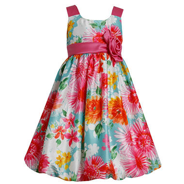 Bright Colored Floral Bubble Dress