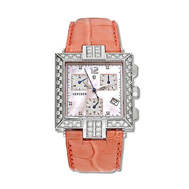 Concord Women's La Scala Stainless Steel Case and Salmon Alligator Leather Strap Diamond Chronograph Quartz Watch