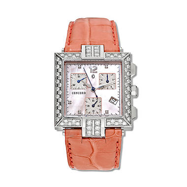 Concord Women's La Scala Stainless Steel Case and Salmon Alligator Leather Strap Diamond Chronograph Quartz Watch