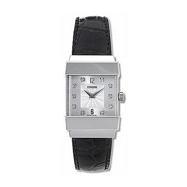Concord Women's Crystale 18K White Gold Case and Black Alligator Leather Strap Diamond Quartz Watch