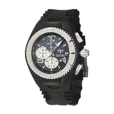 TechnoMarine Women's Cruise Original Stainless Steel Case and Black and Clear Silicon Interchangeable Straps Diamond Quartz Watch