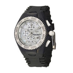 TechnoMarine Women's Cruise Original Stainless Steel Case and Black and Clear Silicon Interchangeable Straps White and Black Diamonds Quartz Watch