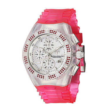 TechnoMarine Women's Cruise Original Stainless Steel Case and Pink and Clear Silicon Interchangeable Straps Pink Topaz and White Diamonds Quartz Watch