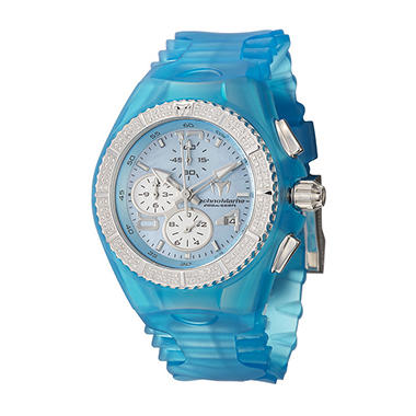 TechnoMarine Women's Cruise Original Stainless Steel Case and Blue and Clear Silicon Interchangeable Straps Diamond Quartz Watch