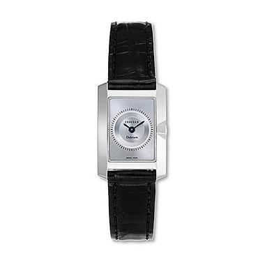 Concord Women's Delirium 18K White Gold Case and Black Alligator Leather Strap Quartz Watch