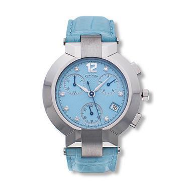 Concord Women's La Scala Stainless Steel Case and Blue Alligator Leather Strap Diamond Chronograph Quartz Watch
