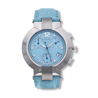 Concord Women's La Scala Stainless Steel Case and Blue Alligator Leather Strap Diamond Chronograph Quartz Watch