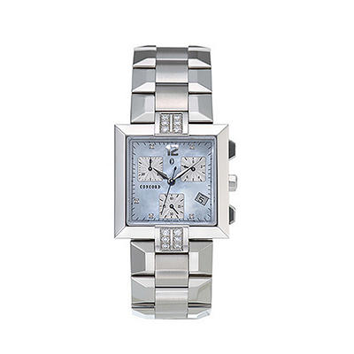 Concord Men's La Scala Stainless Steel Case and Bracelet Diamond Chronograph Quartz Watch