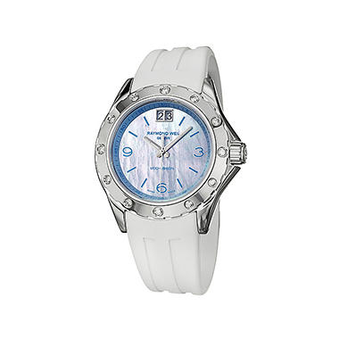 Raymond Weil Women's RW Spirit Stainless Steel Case and White Rubber Strap Diamond Quartz Watch