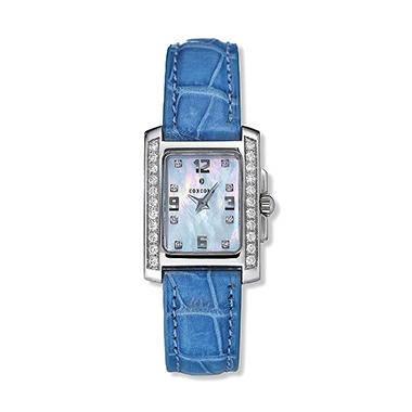 Concord Women's Sportivo Stainless Steel Case and Blue Leather Strap Diamond Quartz Watch