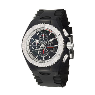 TechnoMarine Men's Cruise Original Stainless Steel Case and Silicon Interchangeable Straps Diamond Chronograph, Tachymeter Quartz Watch