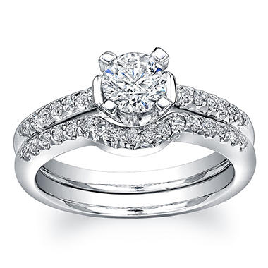 0.91 ct. t.w. Round-Cut Diamond Bridal Ring in 18K White Gold (H, I1)