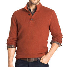 G.H. Bass & Co. Button-Front Waffle Sweater