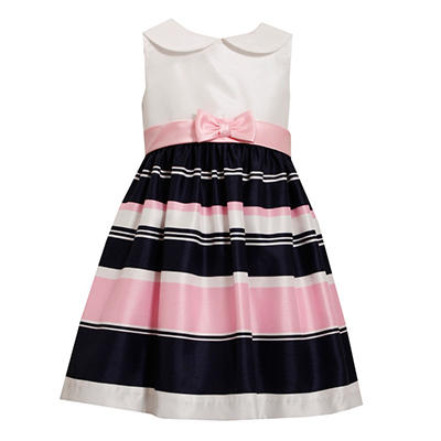 Navy and Pink Shantung Stripe Dress
