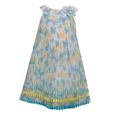 Butterfly Printed Crystal Pleated Dress