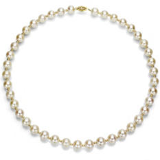 "8-9 mm White Cultured Freshwater Pearl and 14k Yellow Gold Beads 18"" Necklace"