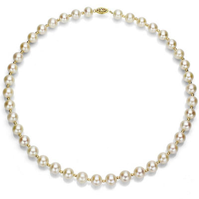 """8-9 mm White Cultured Freshwater Pearl and 14k Yellow Gold Beads 18"""" Necklace"""