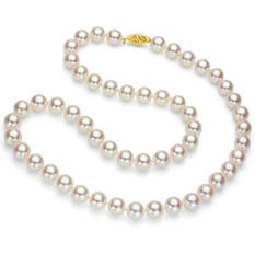 "7.5-8 mm White Round Akoya Pearl 24"" Strand Necklace with 14k Yellow Gold Clasp"