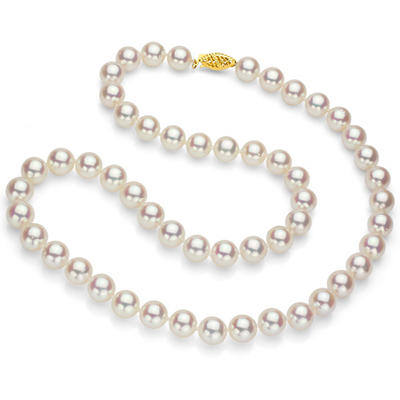 """7.5-8 mm White Round Akoya Pearl 24"""" Strand Necklace with 14k Yellow Gold Clasp"""