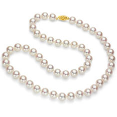 "7.5-8 mm White Cultured Freshwater Pearl 24"" Strand Necklace with 14k Yellow Gold Clasp"