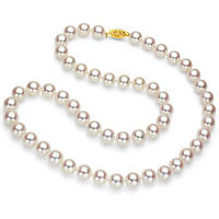"7-7.5 mm White Round Akoya Pearl 24"" Strand Necklace with 14k Yellow Gold Clasp"