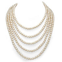 "5-6 mm White Cultured Freshwater Pearl 100"" Endless Necklace"