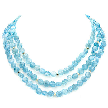 3-Row Coin Shaped Blue Aquamarine and 14k Yellow Gold Beads Necklace