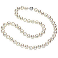"8-8.5 mm White Round Akoya Pearl 18"" Strand Necklace with 14k White Gold Ball Clasp"
