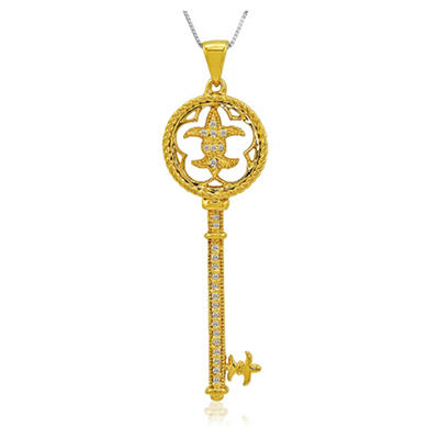 0.10 ct. t.w. Diamond 14k Yellow Gold Key Pendant (H-I, I1)