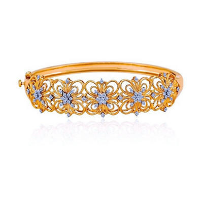 0.97 ct. t.w. Diamond Flower Design Bangle Bracelet (H-I, I1)