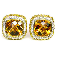 Sonia B. Citrine, Diamond & Yellow Sapph. Earrings