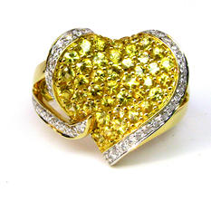 Sonia B. Yellow Sapphire & Diamond Abstract Heart Ring